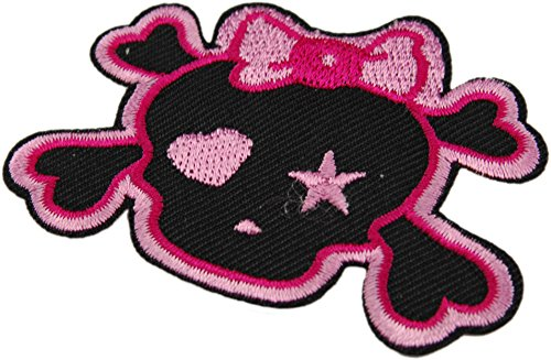 Pink Ribbon Bow Skull & Bones Punk Goth Girl Embroidered Iron On Applique Patch