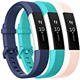 Vancle Bands Replacement for Fitbit Alta HR and Fitbit Alta (3 Pack), Newest Sport Replacement Wristbands with Secure Metal Buckle for Fitbit Alta HR/Fitbit Alta (Blue Teal Blush-Pink, Small)
