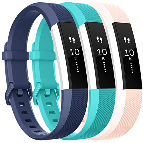 Vancle Bands Replacement for Fitbit Alta HR and Fitbit Alta (3 Pack), Newest Sport Replacement Wristbands with Secure Metal Buckle for Fitbit Alta HR/Fitbit Alta (Blue Teal Blush-Pink, Large)