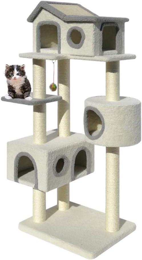 耐久性のある猫スクラッチポスト猫ハウス猫タワーハンモック猫ホーム活動プレイクライミングパーチプラットフォームタワーおもちゃ - 猫の隠れ家にピッタリ (色 : Natural, Size : As pictiure)