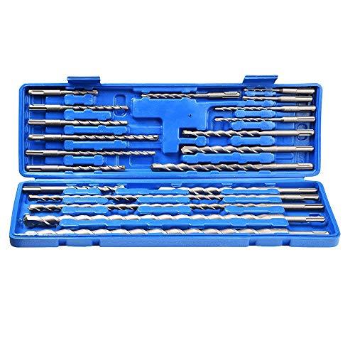 20 PCS Rotary Hammer SDS Plus Drill Bit Set Tool w/Organizer Case Box 40Cr Rigid Carbon Steel Quick Change Concrete Masonry Hole