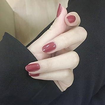 YuNail - Lote de 24 uñas postizas nupciales elegantes de color rosa rebelde con forma elíptica y corta, pegatinas con pegamento y minilima: Amazon.es: ...