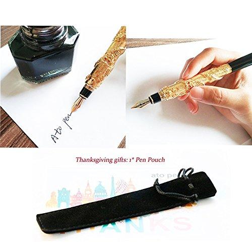 Lujo Jinhao dragón chino plata pluma estilográfica con punta mediana 18 kgp pluma de regalo: Amazon.es: Oficina y papelería