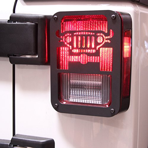 "Xprite 2007-2018 Jeep Wrangler JK Unlimited Black Light Guard"" JEEP Car Logo"" For Rear Taillights ( Tail Light ) Cover – Pair"