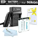 Battery And Charger Kit For Nikon Coolpix S3700, S2800, S2900, S33, S7000, S6900, S100 S4300 S5200, S6500, S4200 Digital Camera Includes Replacement (1000Mah) EN-EL19 Battery + Ac/Dc Charger + More