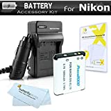 Battery Kit For Nikon Coolpix S3500 S6400 S3100 S4100 S100 S4300 S3300 S5200 S6500 S3200 S4200 Digital Camera Includes Replacement Extended (1000Mah) EN-EL19 Battery + LCD Screen Protectors + MicroFiber Cleaning Cloth (1 BATTERY AND CHARGER)