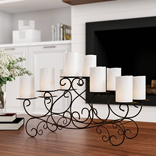 Home Lavish 10 Candle Candelabra with Swirl Design- Handcrafted Iron Candle Holder/Centerpiece for Fireplace, Décor, Wedding, Event (Brown), Brown (Floral Candelabra Shade Sets)