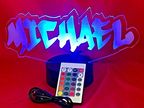 Name Light Up Lamp Any Name Shape Lamp LED Personalized Create Your Own Name In Graffiti Table Lamp LED, Our Newest Feature - It's WOW, With Remote 16 Color Options, Dimmer, Free Engraving, Great Gift