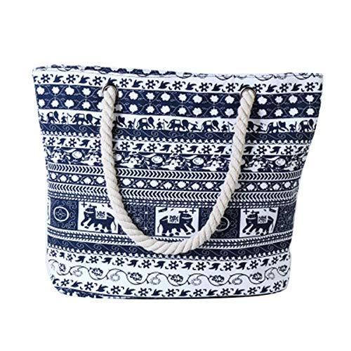 Womens Ladies Large Print Elephant Pattern Shoulder Canvas Tote Holiday Beach Bag Elephant-blue1