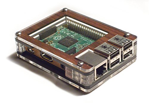 C4 Labs Zebra Case - Raspberry Pi3, 2, B+ and 2B (Solid top Walnut) with Heatsinks ~ C4Labs