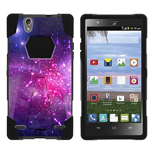 MINITURTLE Case Compatible with ZTE Lever LTE, Model Z936L Case [SHOCK FUSION] High Impact Hybrid Dual Layer Shell Case with Hard Kickstand Cover - Heavenly Stars (Stars Heavenly)