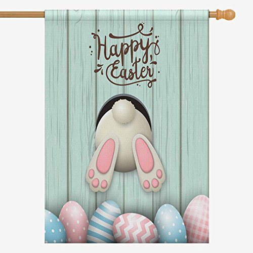 INTERESTPRINT Happy Easter Cute Bunny and Easter Eggs On Blue Wooden Decorative Flag House Flag House Banner for Wishing Party Wedding Yard Home Decor 28
