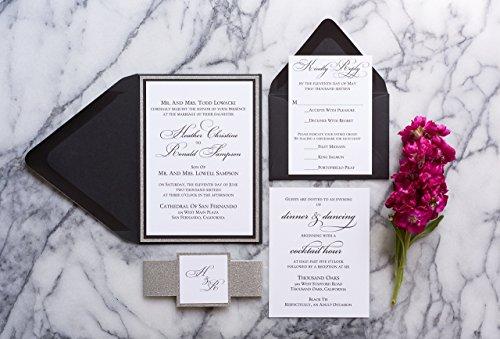 Personalized Glitter Wedding Invitation, Elegant Wedding card set, Heather sample (Set Invitation Formal Wedding)