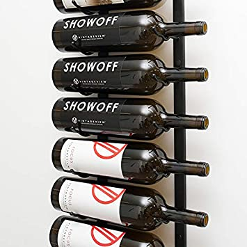Vintageview Wall Series 9 Bottle Wall Mounted Wine Rack Brushed Nickel Stylish Modern Wine Storage With Label Forward Design