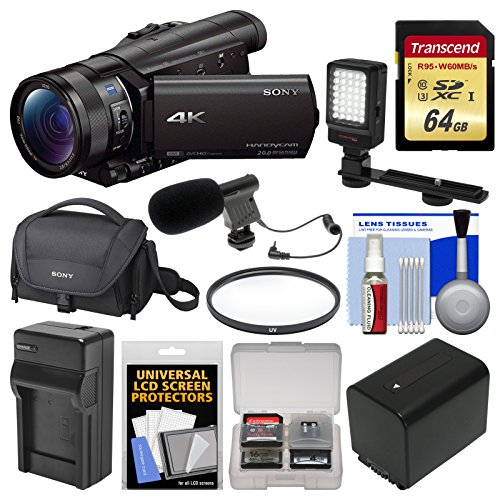 Sony Handycam FDR-AX100 Wi-Fi 4K HD Video Camera Camcorder with 64GB Card + Case + LED Light + Battery & Charger + Mic + Filter + Kit