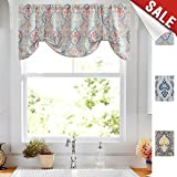 Damask Printed Tie-up Valances for Windows Multicolor Linen Textured Adjustable Tie Up Shade Window Curtain Rod Pocket Medallion Tie-up Valance Curtains 20 Inches Long 1 Panel, Green