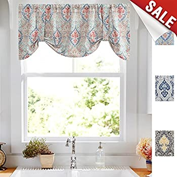 Amazon Com Damask Printed Tie Up Valances For Windows