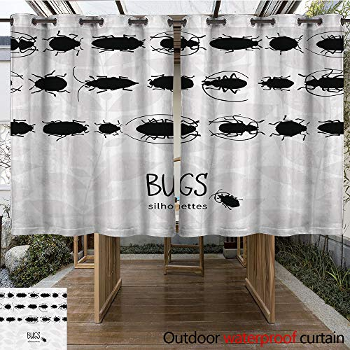 WinfreyDecor Outdoor Curtains for Patio Waterproof Seamless Border with Silhouette of Bugs W63 x L72