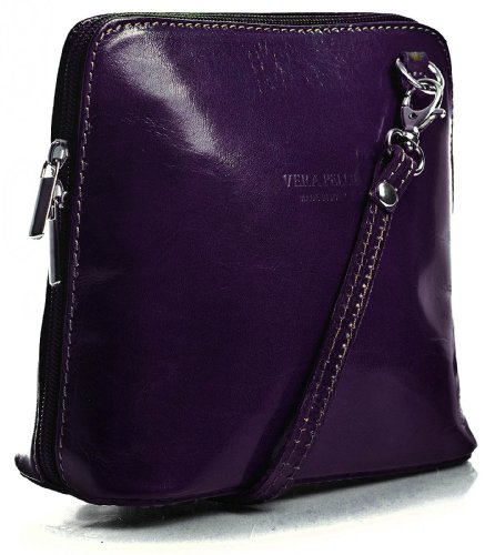 Leather Abby Genuine with LiaTalia Dust Handbag Protection 2012 Womens a Italian Mini Body Cross Bag Purple Deep HIST4qRBTO
