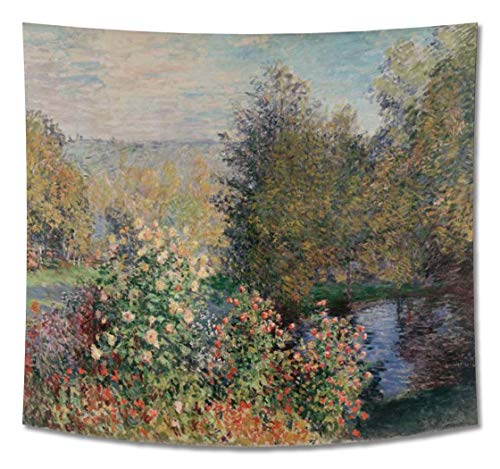 GUAMISS Print Hanging Wall Tapestry Wall Blankets Wall Decor -Claude Monet - Corner of The Garden at Montgeron 1876 - 200X150 cm (Approx. 80X60 inch) - Landscapes Reproductions Prints from GUAMISS