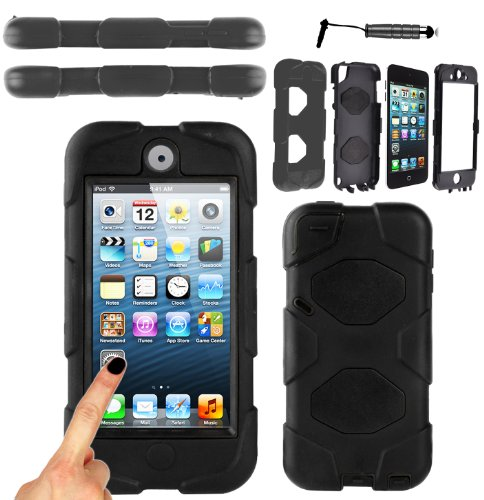 Magic Global Gadgets - Survivor Military Heavy Duty Builders Armor Tough Shock Proof Hard Case Cover For Apple iPod Touch 5 5th Gen 5th Generation iPod 5 Extreme Grade Dual Layer Protection With Built in Screen Guard + Mini Stylus Pen (Black - Military Shock Proof)