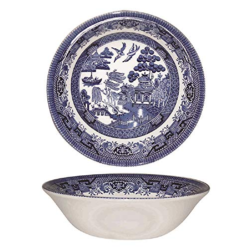 Churchill Blue Willow Fine China Earthenware Oatmeal Bowl 6