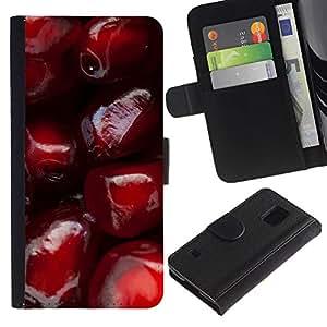 All Phone Most Case / Oferta Especial Cáscara Funda de cuero Monedero Cubierta de proteccion Caso / Wallet Case for Samsung Galaxy S5 V SM-G900 // Pomegranate Red Fruit Juicy Tasty