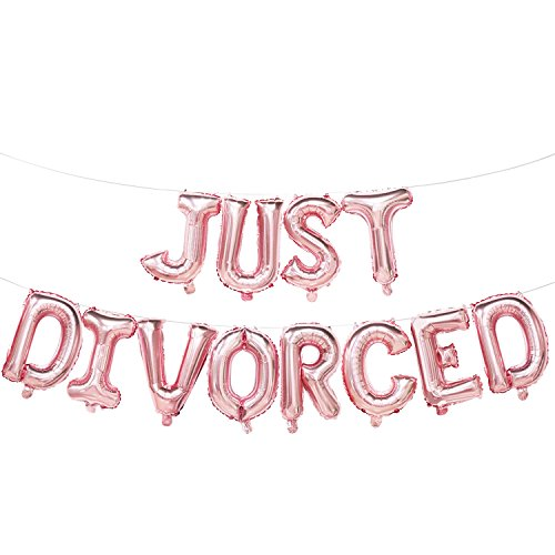 Just Divorced Balloons Rose Gold | Just Divorced Banner Sign | Divorce Party Decorations Supplies | 16inch
