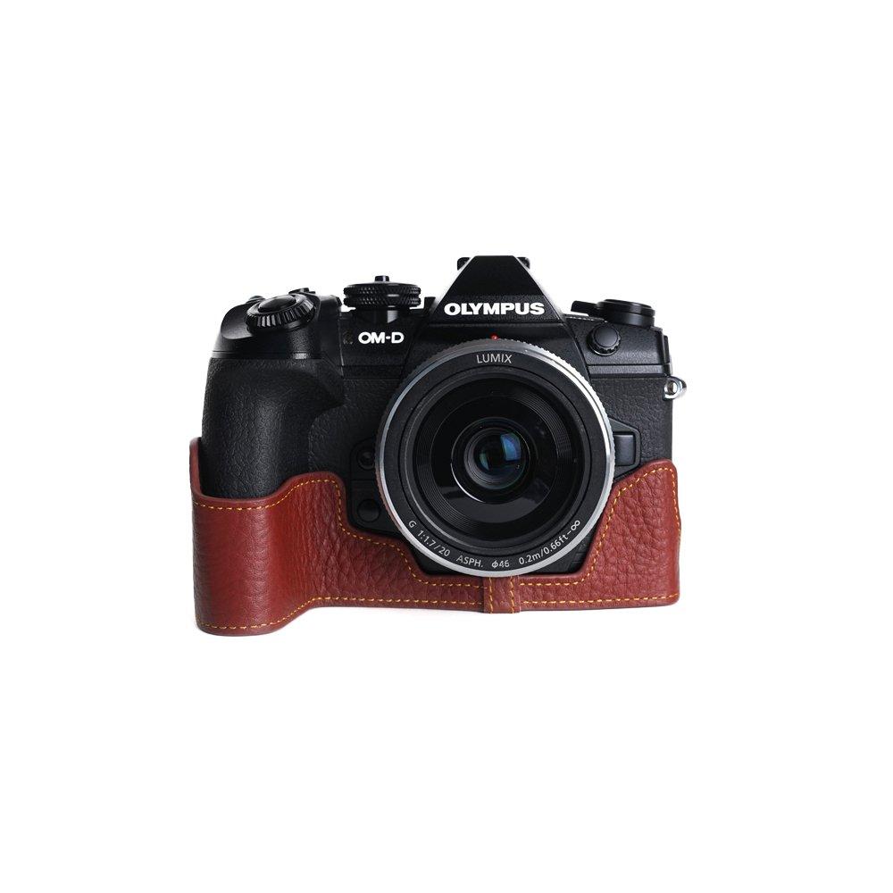 TP OLYMPUS オリンパス E-M1 Mark II用本革カメラケース 別注カラー カメラケース&ストラップTP1881 ブラウン B0749JPW9F