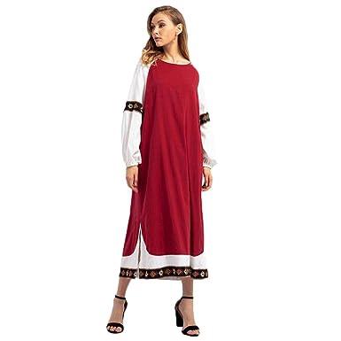 Gaddrt Femmes Broderie Longue Robe Islamique Musulman Moyen-Orient Robes  Longues Manches (Vin Rouge b3c70a26f05