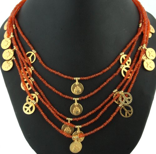 Carnelian Necklace with Gold Plated Charms - Sterling Silver