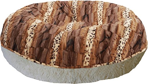 BESSIE AND BARNIE 42-Inch Bagel Bed for Pets, Large, Blondie/Wild Kingdom For Sale