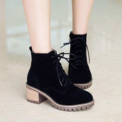 YE Damen Blockabsatz Ankle Boots High Heels Stiefeletten mit Schnürung und Reißverschluss Elegant Bequem Schuhe Schwarz