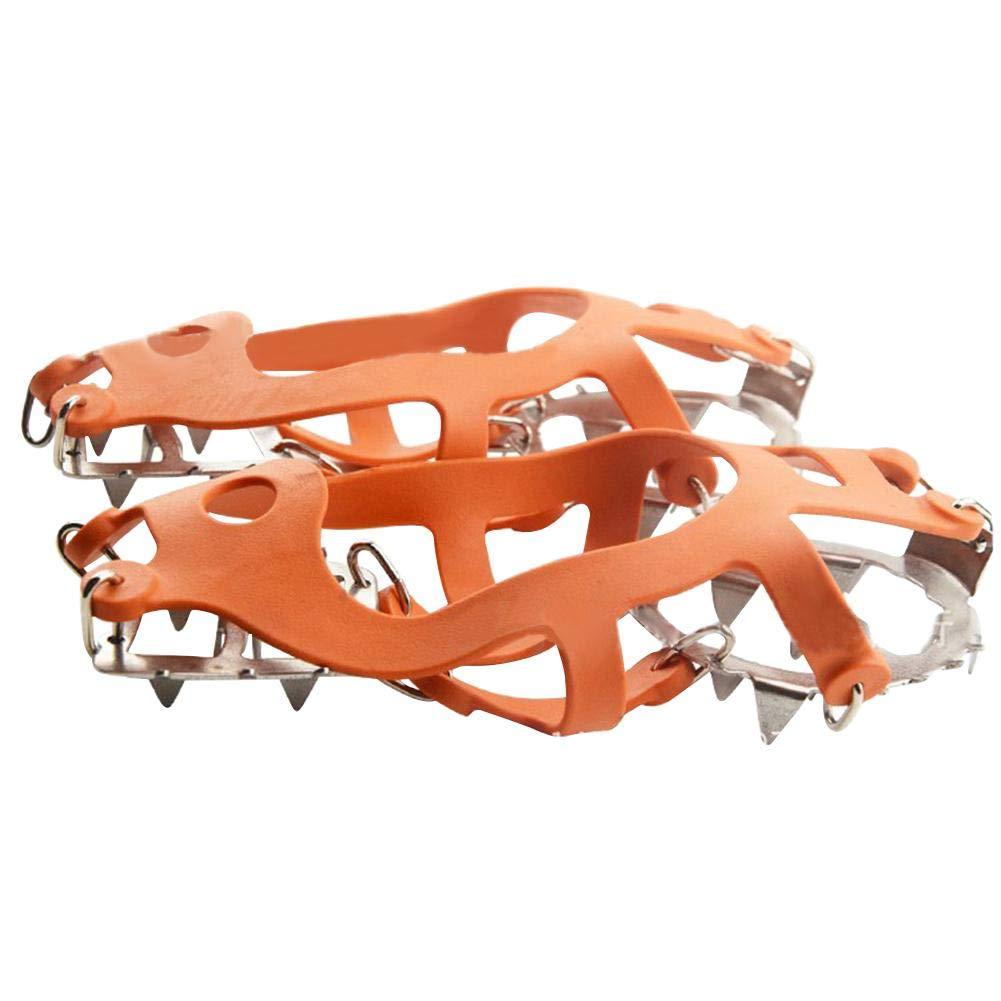 18 Denti di Scarpe da Neve con Ghiaccio Impugnature a Spillo Ramponi Copriscarpe da Arrampicata Chansted Ramponi di Ghiaccio rampicanti Arancione L