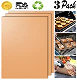 Aoocan Gold Grill Mat Set of 3- 100% Non-stick BBQ Grill & Baking Mats - FDA-Approved, PFOA Free, Reusable and Easy to Clean - Works on Gas, Charcoal, Electric Grill and More - 15.75 x 13 Inch