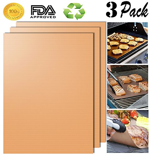 Aoocan Copper Grill Mat Set of 3-100% Non-stick BBQ Grill & Baking Mats - FDA-Approved, PFOA Free, Reusable and Easy to Clean - Works on Gas, Charcoal, Electric Grill and More - 15.75 x 13 Inch 3 Copper Bars