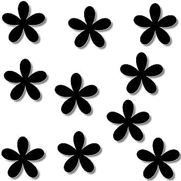 Fliesenaufkleber Schwarz Kacheldekor 10 Blumen Fenster Wandtattoo
