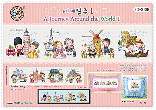 SO-G139 A Journey Around the World 1, SODA Cross Stitch Pattern leaflet, authentic Korean cross stitch design, cross stitch pattern chart, color printed on coated paper (Cross Stitch Charts)