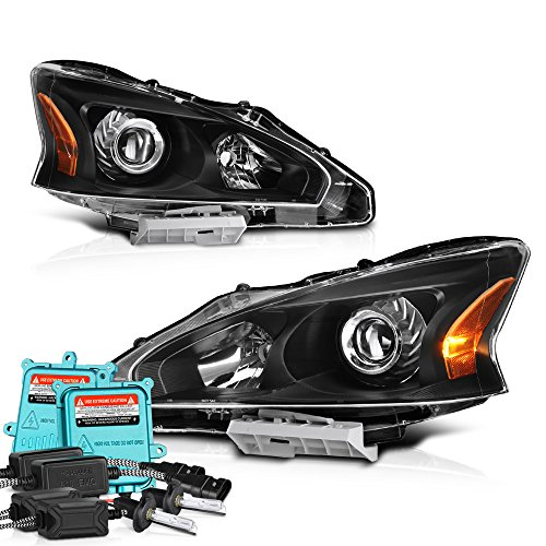 Nissan Headlight Housing (VIPMotoZ 2013-2015 Nissan Altima Sedan Headlights - Built In Xenon HID Low Beam, Matte Black Housing, Driver and Passenger Side)