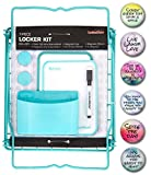 Lockermate Locker Kit 12 inch Tall Shelf, Mirror, White Board, 6 Inspirational Decorations, and Pencil Cup 13 Piece Bundle (Mint)
