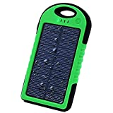 Sunyounger™ 5000mAh Portable Power Bank Shockproof Waterproof Dustproof Solar Charger 5v 200mA Solar Panel Dual USB Port Portable Charger Backup External Battery Power Pack for iPhone 6 Plus 5S 5C 5 4S 4, iPad Air Mini, iPods(Apple Adapters not Included), Samsung Galaxy S5 S4 S3,Note 4 3 2, Nexus, HTC, Android Phones,Windows phone, Bluetooth Speakers, MP3, Tablets and Other Devices Green Color