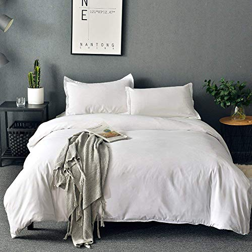 SORMAG Bedding Duvet Cover Queen Size 3 Piece, Ultra Soft Double Brushed Microfiber Hotel Collection, Duvet Cover with Zipper Closure, White