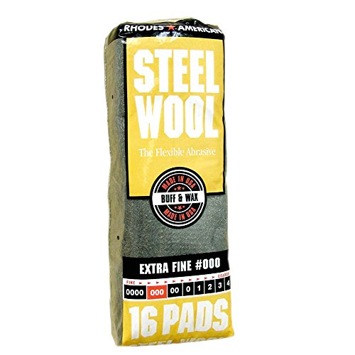 Wax Steel Wool (Steel Wool, 16 pad, Extra Fine Grade #000, Rhodes American, Buff and Wax Steel Wool)