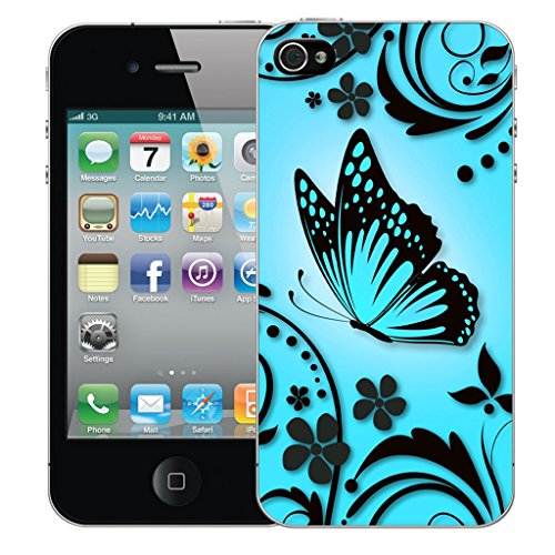 Mobile Case Mate iPhone 4 Silicone Coque couverture case cover Pare-chocs + STYLET - Blue Caress pattern (SILICON)