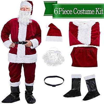 Mannice Christmas Santa Claus Costume,Velvet Men's Deluxe Santa Suit Wine Red,M to L