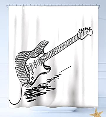 HAIXIA Cortinas de Ducha Guitarra de Mano Estilo Guitarra Eléctrica Sobre Fondo Blanco Rock Música acords Dibujo Arte Decorativo Negro Blanco