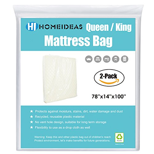 HOMEIDEAS 2-Pack 2 Mil Thick Mattress Bag for Moving and Storage,Fits Queen/King Size