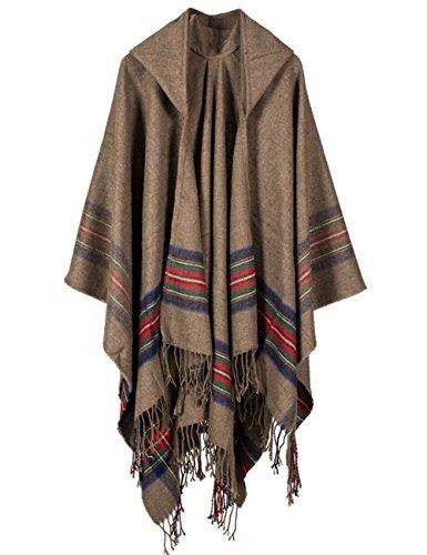 Epsion Fashionable Open Front Poncho Capes with Hood Oversized Blanket Shawl Cardigan Coat (Khaki)