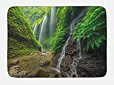 Ambesonne Waterfall Bath Mat, Waterfalls side Valley in Indonesia with Southeast Asian Bushes above Hills, Plush Bathroom Decor Mat with Non Slip Backing, 29.5 W X 17.5 W Inches, Green and Brown