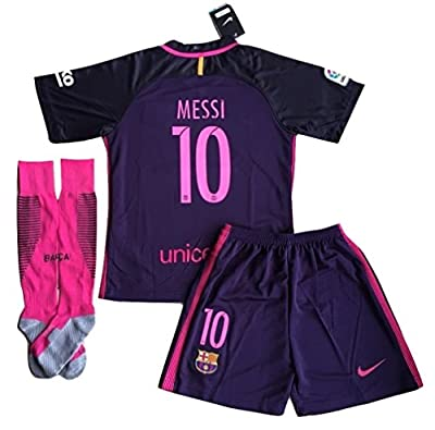 #10 Messi FC Barcelona 2016-2017 Away Jersey with Shorts and Socks for Kids/Youth